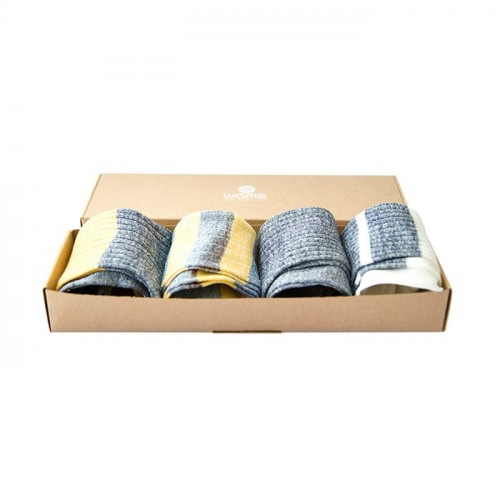 Striped Linen Socks Gift Box