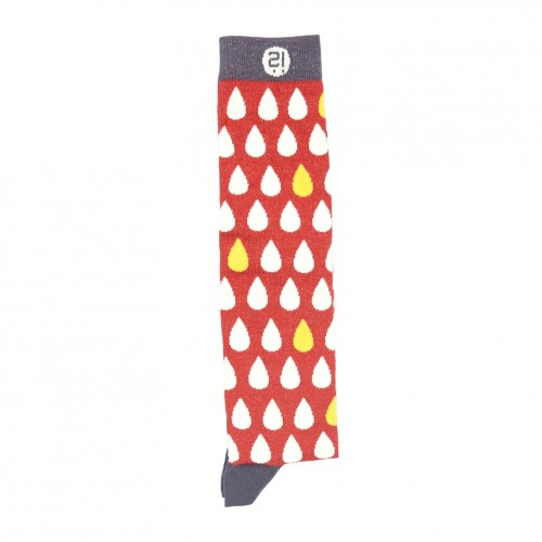 Red Mixed Drops Knee Sock