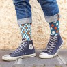 Grey Blue Dots Sock