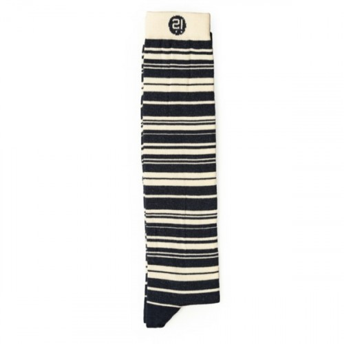 Blu White Stripes Knee Sock